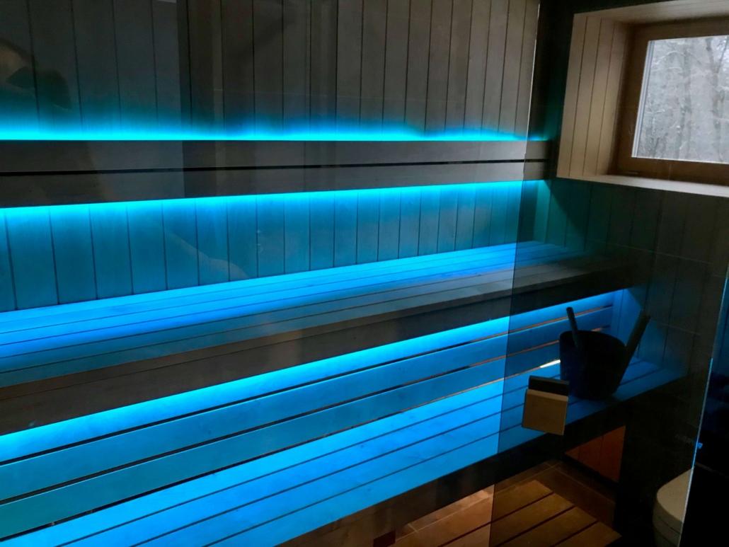 Sauna siseviimistlus. LED valgustus
